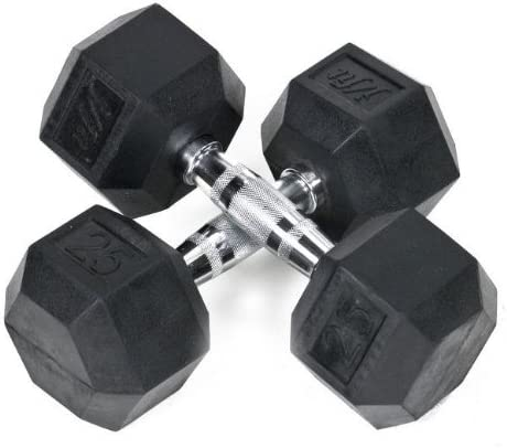 JFIT Pair of Rubber Coated Hex Dumbbells Size 25 lb
