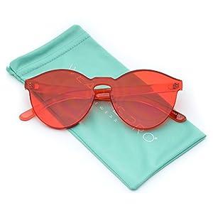 WearMe Pro - Colorful Transparent Round Super Retro Sunglasses (Red, 59)