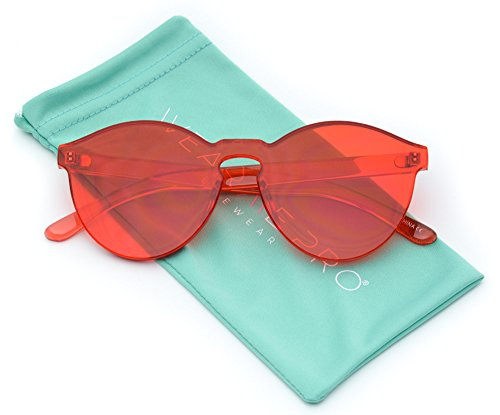 WearMe Pro - Colorful Transparent Round Super Retro Sunglasses (Red, - Womens Sunglasses Retro