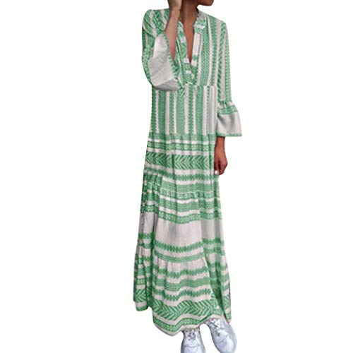Aniywn Women's Plus Size Summer V-Neck Printed Long Dress Beach Party Flare Sleeve Maxi Dress Green ()