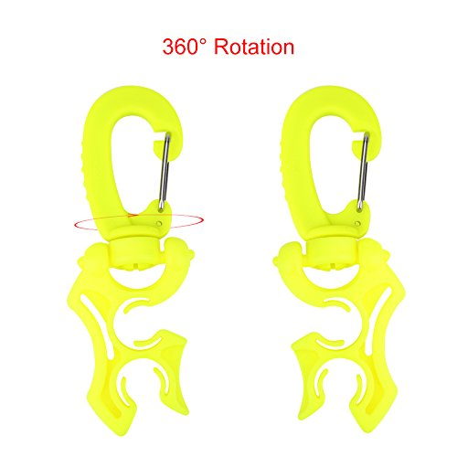 Scuba Diving Hose Holder with Clip - 2pcs Diving Dive Double BCD Hose Holder Low Pressure Hose Clip Holder with Snap Hook Buckle (Green+Yellow) ()