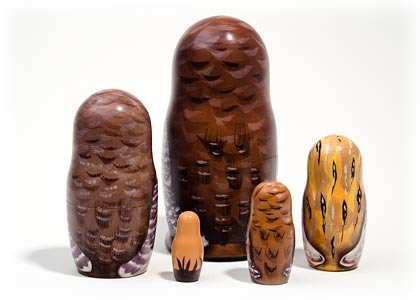 North American Owls 5 Piece Russian Wood Nesting Doll Matryoshka Stacking Dolls by Golden Cockerel (Image #3)