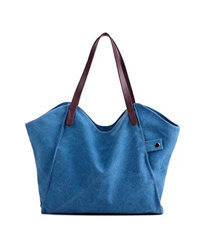 Puluo - Bolso al hombro para mujer Gris gris azul