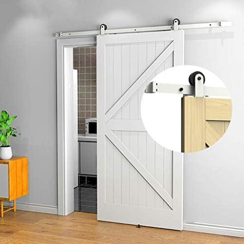 ドアレールハードウェアセット 150-300cm納屋のドアスライディングドアホワイトペンダントコンプリートハードウェアキット、寝室のプッシュアンドプルドアハンギングレールトラックアクセサリー (Size : 9.8ft/300cm single door kit)
