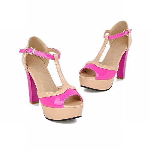 Carolbar Elegantie Womens Gesp T-strap Peep Toe Chique Diverse Kleuren Platform Dikke Hoge Hak Sandalen Rose Rood