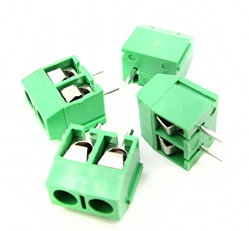 DBParts 20pcs 2-Pin (2 Pole) Plug-in Screw Terminal Block Connector 5.08mm Pitch Panel PCB Mount DIY
