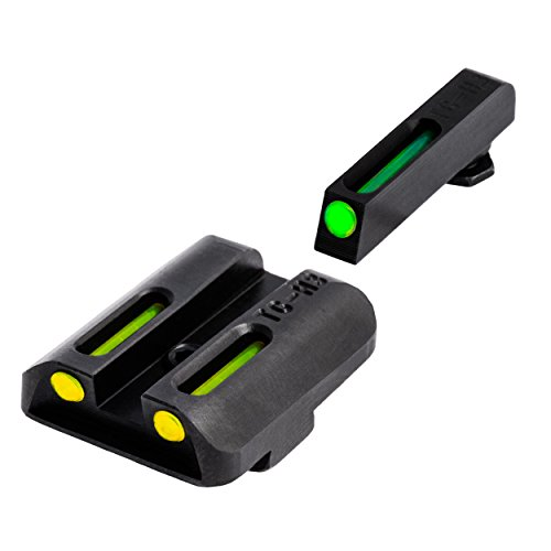 TRUGLO TFO Handgun Sight Set - Glock Low - Green/Yellow Rear (Truglo Fiber Optic Sights For S&w M&p)