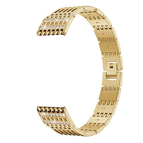 Clearance Sale!DEESEE(TM)Luxury Comfortable Durable Metal Crystal Watch Band Wrist for Fitbit Versa Lite (Gold)