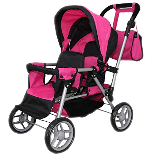 Mommy & Me Twin Doll Pram Back to Back adjustable handle with FREE Carriage bag 9386 -