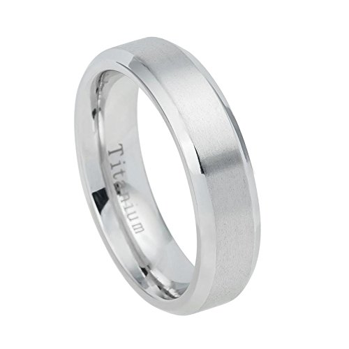 Center Titanium Wedding Band (6mm White Titanium Shiny Beveled Edge Brushed Center Wedding Band Ring For Men Or Ladies)
