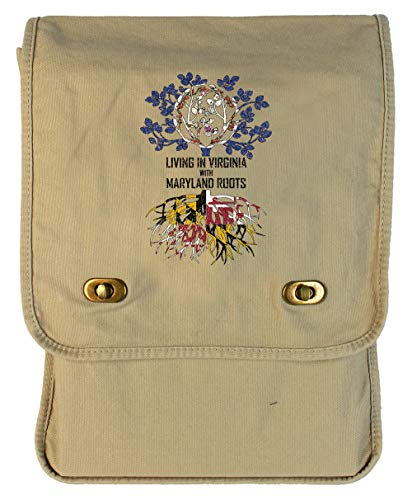 Tenacitee Living In Virginia with Maryland Roots Putty Canvas Field Bag from Tenacitee