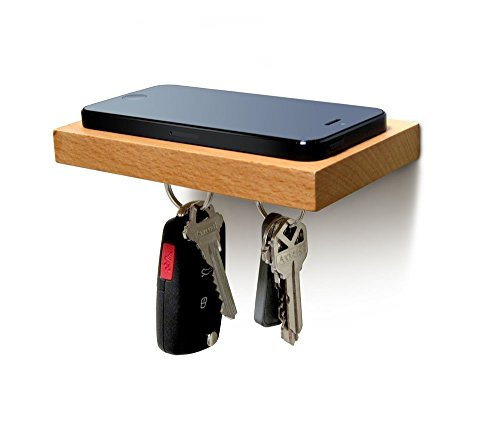 (ILoveHandles Plank Floating Cell Phone Wall Mounted Wood Shelf with Magnetic Keyhook - Natural Wood)