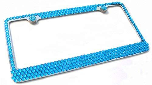 Hotblings 4 Row TURQUOISE BLUE Rhinestone Bling Sparkle Metal License Plate Frame & Caps Set