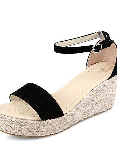 ShangYi Toe Sandals Black Heel Ankle Wedge Comfort Women's Open Wedges Dress Beige Casual Beige Fleece Shoes Strap vwfqvrPT