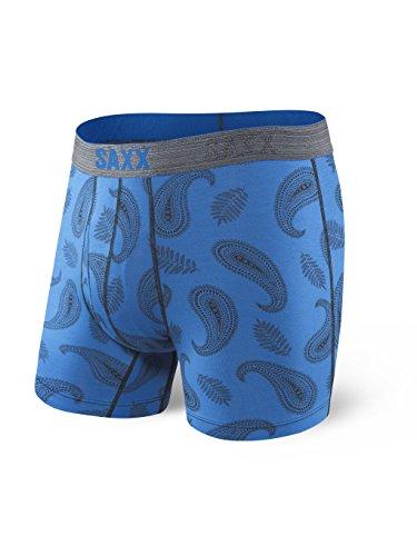 Saxx Underwear Men's Platinum Boxer Brief Fly Blue Pop Paisley with Ballpark Pouch Small