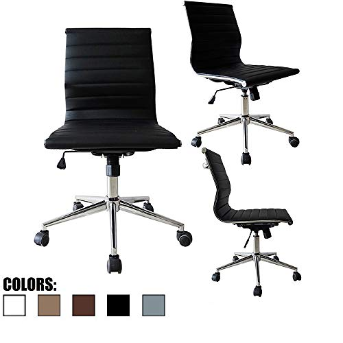 - 2xhome Modern Mid Back Office Chair Armless Ribbed PU Leather Swivel Tilt Adjustable Chair Designer Boss Executive Management Manager Office Conference Room Work Task Computer (Black)