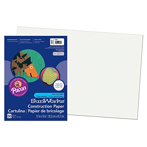 Pacon SunWorks Construction Paper, 12-Inches by 18-Inches, 50-Count, White (9207)