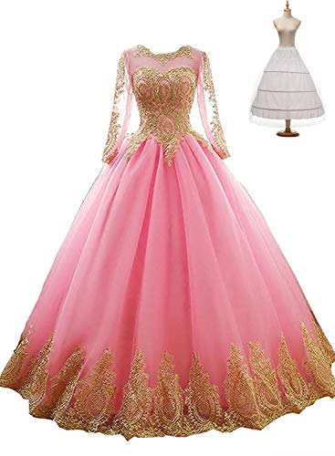 Fatapaese Girls Ball Gown Quinceanera Dresses Plus Size(Hot Pink,24W)