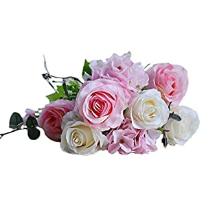 simoce 6 Heads Australian Rose Hydrangea Bouquet Silk Bouquet Home Party Wedding Décor Artificial Flower Props Fake Flowers 2