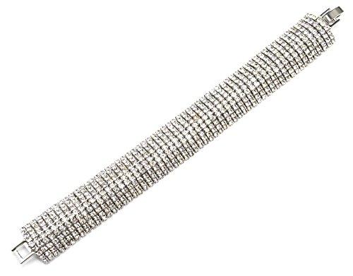 BC2281E - Bracelet Manchette Arrondie 9 Rangs Strass et Métal Argenté Chic Soirée Mariage