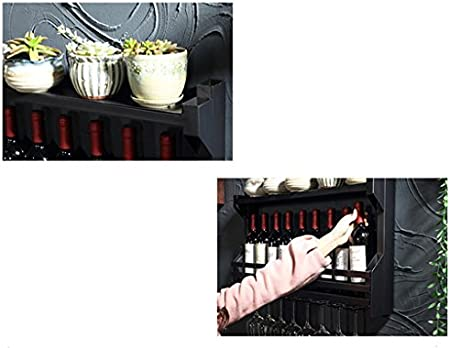Baldas flotantes Estante de Vino de Metal Hierro Europeo | Vinoteca | Portavasos | Soporte de Vaso | Enfriador de Vino de Pared | Estante Colgante de Vidrio de Vino Estilo Country Vintage