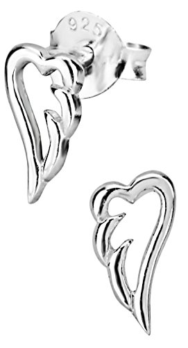 Hypoallergenic Sterling Silver Angel Wing Stud Earrings for Kids (Nickel Free) (Post Angel)