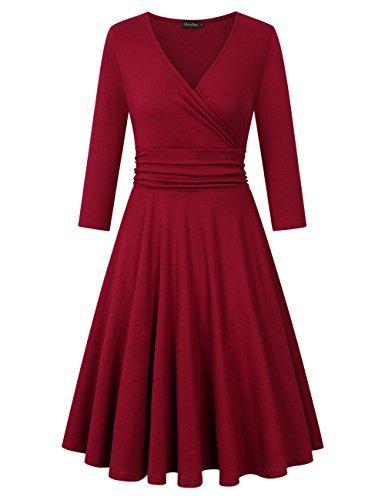 GloryStar Women's 3/4 Long Sleeve V Neck Fit Flare A Line Empire Waist Midi Swing Vintage Dress Burgundy (Empire Slip Dress)