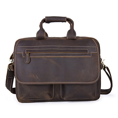 Baigio Mens Brown Crazy Horse Leather Briefcase 15.6