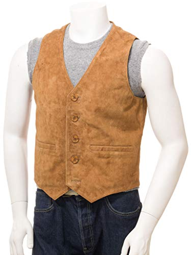 (Men Tan Suede Vest Casual Western Vest Jacket Slim)