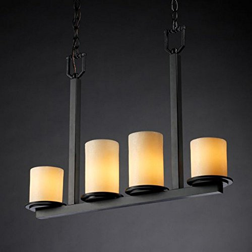 Justice Design Group CandleAria 4-Light Chandelier - Matte Black Finish with Cream Faux Candle Resin Shade Matte Black Candlearia Chandelier