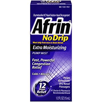 Afrin No Drip Extra Moisturizing Pump Mist 15 ml - Pack of 6 by Afrin