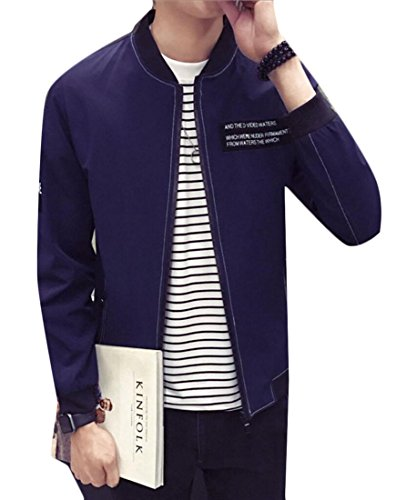 Generic Letters Zip Autumn Navy Outwear Slim Baseball blue Mens Up Jacket Fit 0aa7r