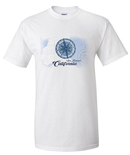 San Francisco, California - Compass - Blue - Coastal Icon (White T-Shirt Large)