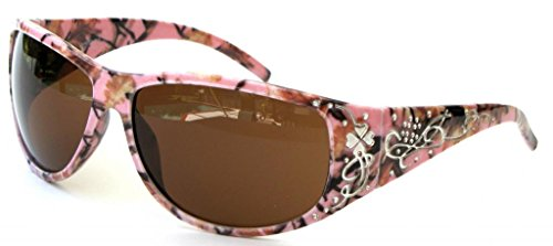 Womens Pink Camouflage Sunglasses Fishing – Brown Lens-Free Microfiber Camo - Camo Pink Glasses Frames
