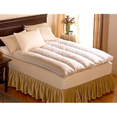 Pacific Coast 230 Thread Count Cotton Baffle Channel Euro Rest Queen Feather Bed, 60 x 80-Inches
