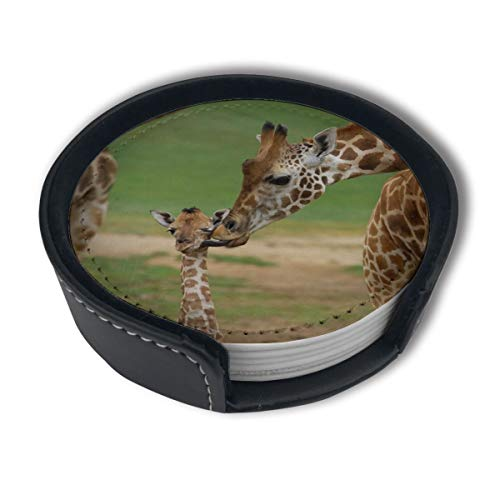 JHXZML Giraffe Mother Child Drink Coasters Holder,Round Cup Mat Pad Protect Your Furniture from Stains,Coffee (6-Piece - Furniture Coaster Kids