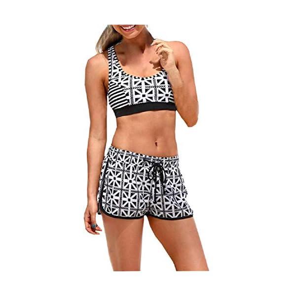 Costume Donna Due Pezzi - Bikini - Top - Shorts - Mare - da Bagno - Sport - Sportivo - Coordinato - Ragazza - Righe… 1 spesavip