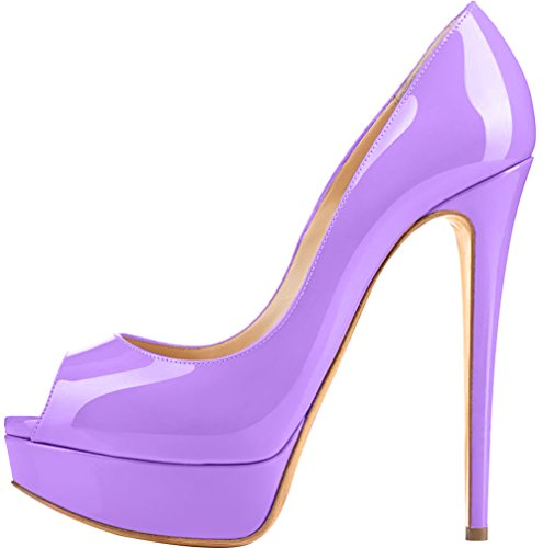 Trusify Mujer 15cm EU tamaño 34-46 Truthunder Tacón de aguja 15CM Sintético Sandalias de vestir Morado