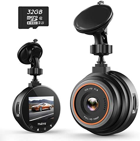 ThiEYE Dash Cam 1080P Full HD DVR Dashboard Video Recorder On-Dash Cameras for Cars with Night Vision, 170 Super Wide Angle, WDR, Loop Recording, Parking Monitor, G-Sensor 32GB SD Card Included