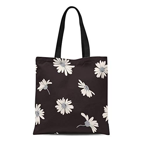 (Semtomn Canvas Tote Bag Abstract White Daisies on Beautiful Black Garden Bloom Blossom Durable Reusable Shopping Shoulder Grocery)
