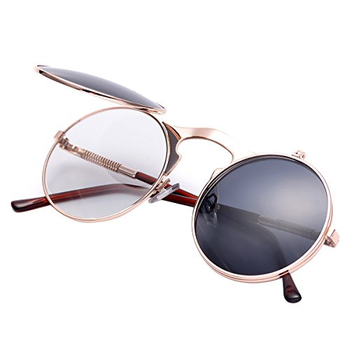 COASION Vintage Round Flip Up Sunglasses for Men Women Juniors John Lennon Style Circle Sun Glasses(Rose Gold Frame/Black Lens)