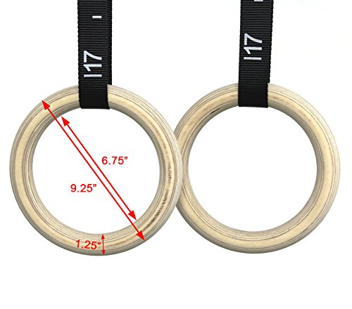 AbleFitness Wood Wooden Gym Rings with Numbered Adjustable Straps Metal Cam Buckle for Strength Training Cross Fit w/free carry bag