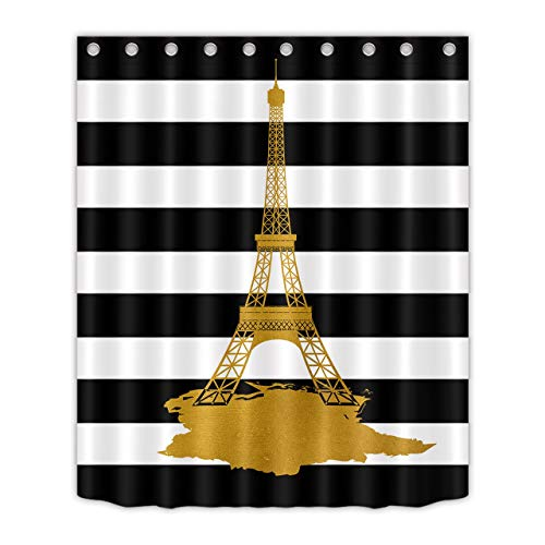 LB Gold Eiffel Tower Shower Curtain Black and White Stripe Bathroom Curtains 60x72 inch Polyester Fabric Waterproof Bath Decor Hooks Included,10 - Gold White Tower