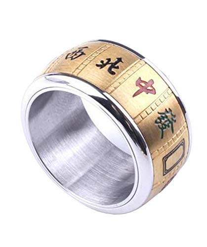 8mm Titanium Steel Gold Plated Rotatable Mahjong Ring Good Luck Rings for Men and Women ()