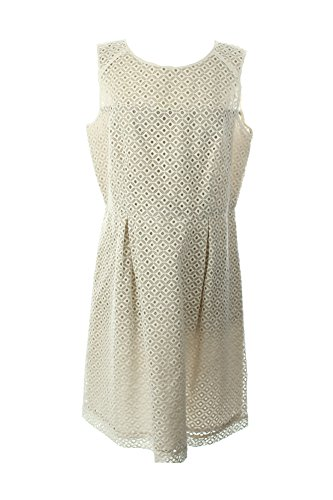 Womens Dress Eyelet Sleeveless Khaki White Klein Calvin 8wHRqaw