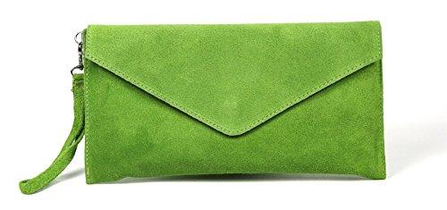 tipo sobre gamuza suave Bright de Bolso Green clutch 'Leah' LiaTalia de noche ngSITwq