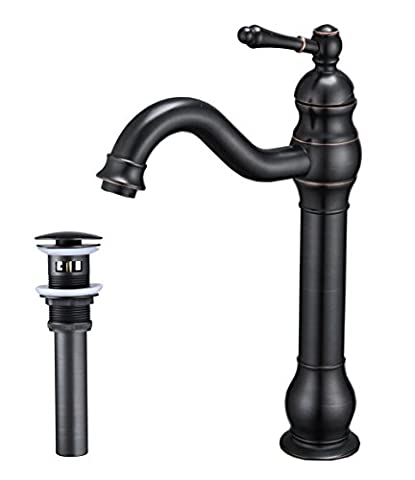 Aquafaucet Single Hole Lever Bathroom Vessel Sink Faucet With Matching Pop Up Drain With Overflow Oil Rubbed Bronze - Overflow Hole Bathroom Faucets