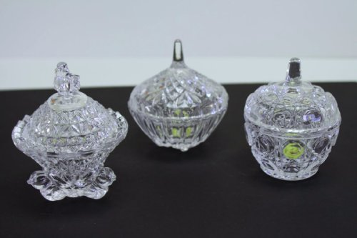Fuji Magnifique 3 Different Shape High Quality Crystal Glass Nail Dishes Or For Small Accessories Jewelry Holder. Unique Design & Best For Gift.