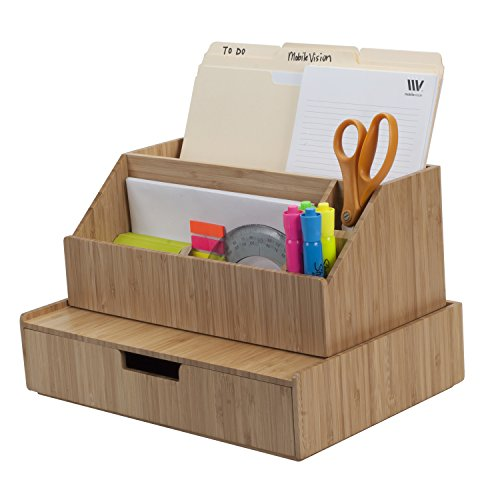 Bamboo Large Drawer Plus Desktop All-in-One Organizer for File Folders, Notepads, Pens, Stationary Items, Small Electronics and More