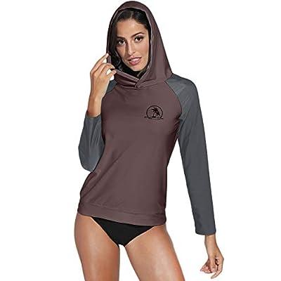 Spadehill Women's UV Sun Protection Zip Long Sleeve Hooded Rash Guard Swim Shirt Top: Clothing